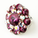 Elegance by Carbonneau Ring-9-S-Fuchsia-AB Silver Fuchsia Pink & AB Crystal Flower Bridal Ring 9