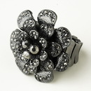 Elegance by Carbonneau Ring-9238-H-Smoked Hematite Smoked Crystal Flower Bridal Ring 9238