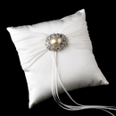 Elegance by Carbonneau RP-11-Brooch-134-A-Ivory Ring Pillow 11 with Antique Ivory Oval Pearl Brooch 134