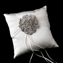Elegance by Carbonneau RP-11-Brooch-53-AS-Clear Ring Pillow 11 with Antique Silver Clear Crystal Floral Brooch 53