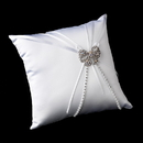 Elegance by Carbonneau RP-16-Brooch-51-A-Clear Ring Pillow 16 with Antique Silver Clear AB Crystal Bow Brooch 51