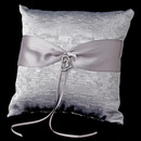 Elegance by Carbonneau RP-722-S Silver Ribbon & Silver Heart Ring Pillow 722