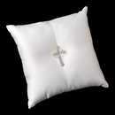 Elegance by Carbonneau RP-9-Brooch-30020-S-Clear Ring Pillow 9 with Silver Clear Faith Cross Brooch 30020