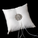 Elegance by Carbonneau RP-9-Brooch-58-A-Clear Ring Pillow 9 with Antique Silver Clear Crystal Floral Brooch 58