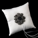 Elegance by Carbonneau RP-9-Brooch-8779 Ring Pillow 9 with Crystal & Rhinestone Floral Brooch 8779