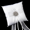Elegance by Carbonneau RP-90-Brooch-37-A-Clear Ring Pillow 90 with Antique Silver Clear Floral Swirl Crystal Brooch 37