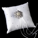 Elegance by Carbonneau RP-92-Brooch-38-A-Pearl Ring Pillow 92 with Antique Silver Vintage Floral Crystal & Pearl Brooch 38