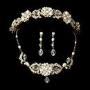 Elegance by Carbonneau Set-NE7804-HP7844- Swarovski Crystal & Freshwater Pearl Bridal Jewelry & Tiara Set (Gold or Silver)