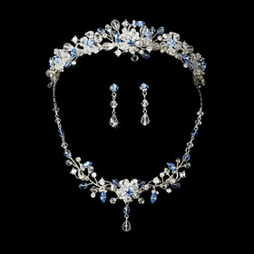 Elegance by Carbonneau Set-NE8003-HP8003-Light-Blue Light Blue Swarovski Crystal Bridal Jewelry & Tiara Set (Other Colors Available)