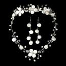 Elegance by Carbonneau Set-NE8137-HP8137 Freshwater Pearl & Crystal Bridal Jewelry & Tiara Set NE 8137 & HP 8137