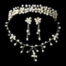 Elegance by Carbonneau Set-NE8139-HP8139 Freshwater Pearl & Crystal Bridal Necklace Earring & Tiara Set 8139