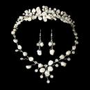 Elegance by Carbonneau Set-NE8261-HP8134 Freshwater Pearl & Crystal Bridal Necklace Earring & Tiara Set