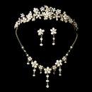 Elegance by Carbonneau Set-NE8263-HP-8452-Gold Swarovski Crystal, Gold & Pearl Bridal Tiara Set NE 8263 & HP 8452