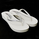 Elegance by Carbonneau Sunshine-White * Sunshine ~ Low Heel White Wedge Flip Flops with Crystal Straps