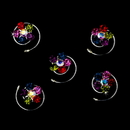 Elegance by Carbonneau Twist-01-MultiColor 12 Delightful Silver Multi-Color Rhinestone Flower Twist-Ins 01