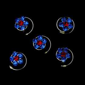 Elegance by Carbonneau Twist-1-BlueRed 12 Delightful Silver Blue & Red Rhinestone Flower Twist-Ins 01