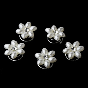 Elegance by Carbonneau Twist-KSP0176 24 Sweet White Pearl & Clear Rhinestone Flower Twist-Ins 0176