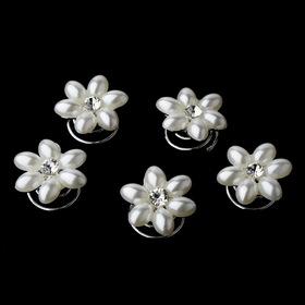 Elegance by Carbonneau Twist-KSP0176 24 Sweet White Pearl & Clear Rhinestone Flower Twist-Ins 0176