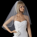 Elegance by Carbonneau V-118-1E Single Layer Elbow Length Veil with Sparkling Pearl & Crystal Edge 118