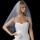 Elegance by Carbonneau V-122 Dainty Flower Embroidery Pattern of Pearls & Beading Scattered Along Elbow Length Veil 122