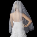 Elegance by Carbonneau V-144-1F Single Tier Fingertip Length Rhinestone Pearl Veil with Scolloped Pencil Edge