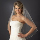 Elegance by Carbonneau V-1834 Single Layer Fingertip Length Bridal Wedding Veil with Pearl & Beaded Edge 1834