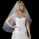 Elegance by Carbonneau V-2020 Two Tier Fingertip Veil with Exquisite Crystal & Pearl Accented Edge 2020