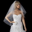 Elegance by Carbonneau V-5000-F Double Tier Fingertip Length Veil with Swarovski & Pearl Flower Accents & Pencil Edge 5000