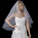 Elegance by Carbonneau V-720 Bridal Wedding Double Layer Fingertip Length, Scattered Rhinestones & Pearls Veil 720