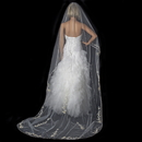 Elegance by Carbonneau V-882-1C-IV-RUM Single Layer Floral Embroidery Cathedral Length Ivory Rum Veil with Satin Ribbon Edge 882