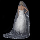 Elegance by Carbonneau V-882-1C-White Single Layer Floral Embroidery Cathedral Length White Veil with Satin Ribbon Edge 882