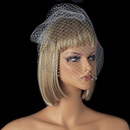 Elegance by Carbonneau V-CAGE-701 Single Layer Russian Birdcage Face Veil on Comb with Scalloping Pearl Edge 701