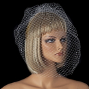 Elegance by Carbonneau V-Cage-702 Single Layer Russian Birdcage Face Veil Scattered with Sparkling Rhinestones 702