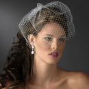 Elegance by Carbonneau V-Cage-700 Bridal Couture Birdcage Veil Blusher with Simple Comb in White or Ivory 700