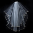 Elegance by Carbonneau Veil-1780 Double Layer Veil with Embroidered Floral Pattern on Pearl & Bead Scolloped Edge 1780