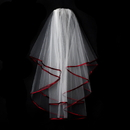 Elegance by Carbonneau Veil-655-White-Red Double Tier Veil with Red Satin Ribbon Edge 655