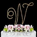 Elegance by Carbonneau W-Renaissance-Gold Renaissance ~ Swarovski Crystal Wedding Cake Topper ~ Gold Letter W