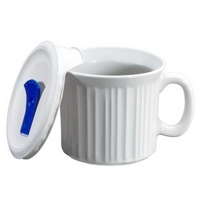 CORNINGWARE 1035985 French White Pop-Ins 20-oz Mug w/ Vented Lid