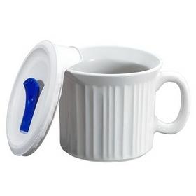 CORNINGWARE 1035985 French White Pop-Ins 20-oz Mug w/ Vented Lid