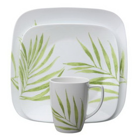 CORELLE 1074309 Square Bamboo Leaf 16-pc Dinnerware Set