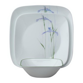 CORELLE 1088645 Square Shadow Iris 18-pc Dinnerware Set