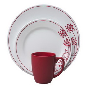 CORELLE 1089392 Vive Berries and Leaves 16-pc Dinnerware Set