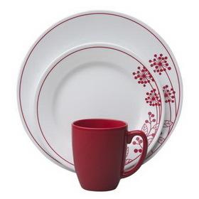 CORELLE 1089392 Vive Berries and Leaves 16-pc Dinnerware Set