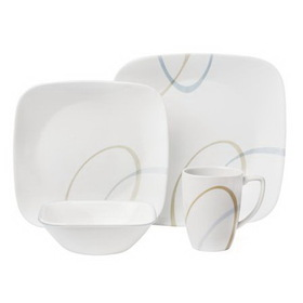 CORELLE 1089962 Square Sand and Sky 16-pc Dinnerware Set