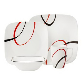 CORELLE 1090045 Square Fine Lines 16-pc Dinnerware Set