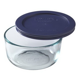 PYREX 6017399 2-cup Storage Dish w/ Blue Lid