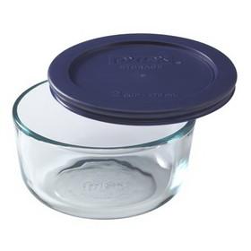 PYREX 6017399 2-cup Storage Dish w/ Blue Lid