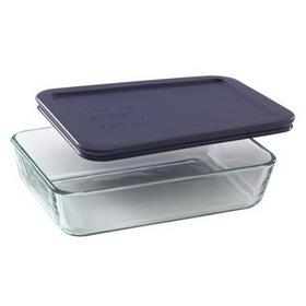 PYREX 6017471 3-cup Rectangular Dish w/ Blue Lid