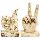 Woodland 34868 Assorted Polystone Hand Decor with Intricate Detailing - Set of 2