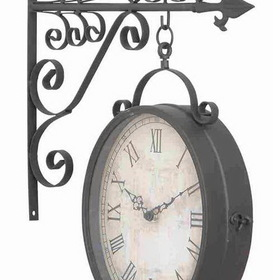 "Woodland 35414 Metal Outdoor Double Clock 17"" Height, 14"" Wide, Price/Each"
